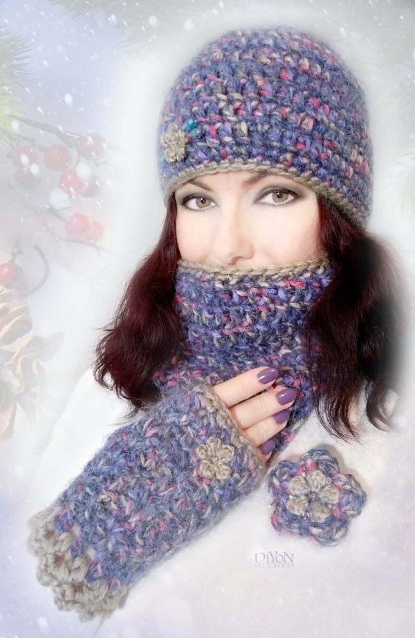 Луксозен дамски плетен комплект с мохер