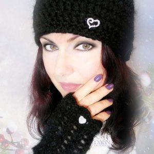 Луксозни шапка и ръкавици от черен мохер