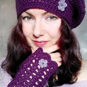 Плетена шапка тип барета