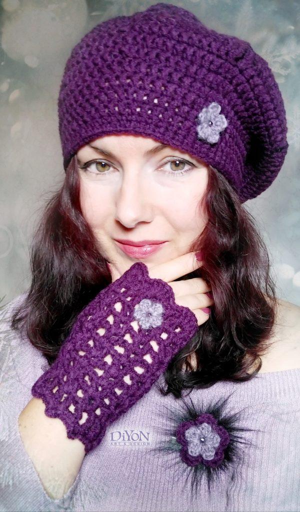 Плетени шапка и ръкавици в лилаво