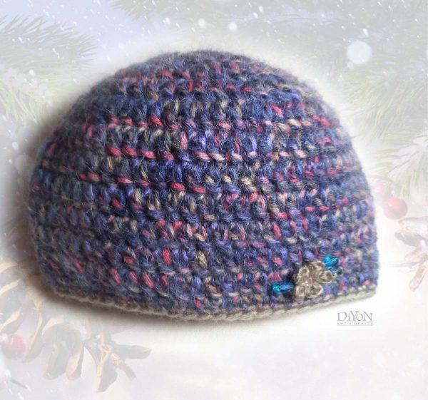 Топла плетена шапка с мохер