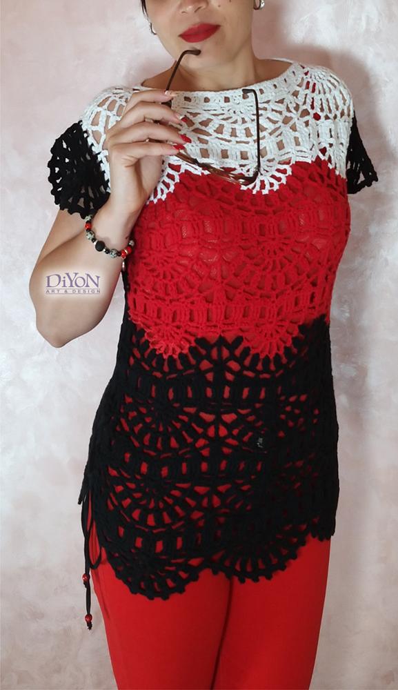 Плетена дамска блуза на една кука
