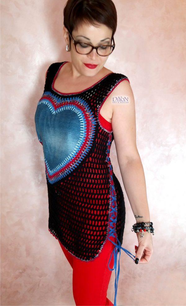 Ажурен плетен дамски потник с връзки