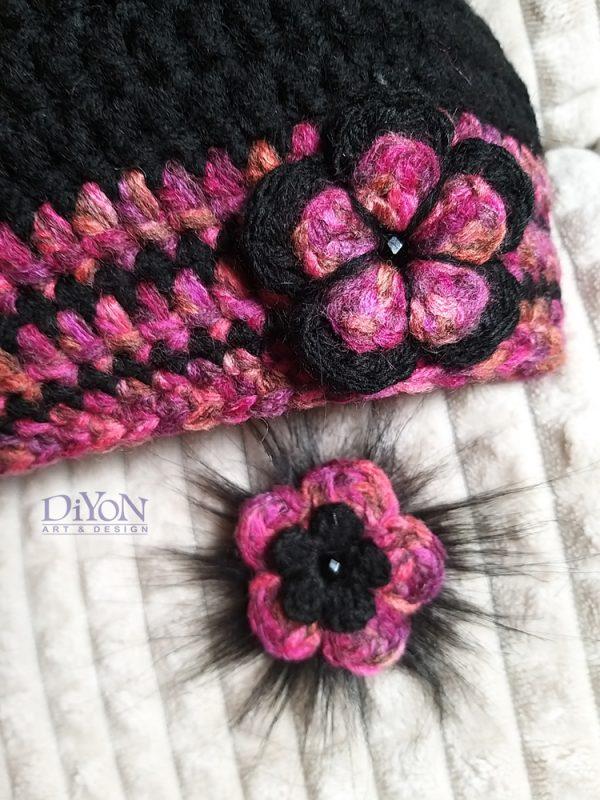Плетена черна шапка 2