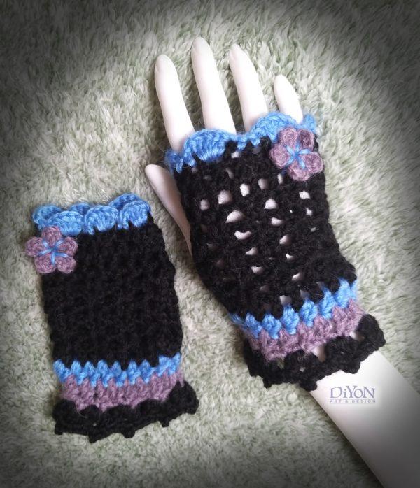 Ажурни плетени ръкавици в черно
