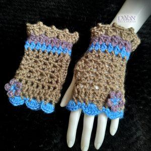 Ажурни плетени ръкавици в бежаво