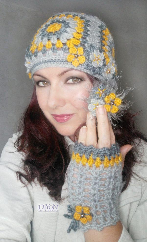 Дамски плетени ръкавици и шапка с квадрати