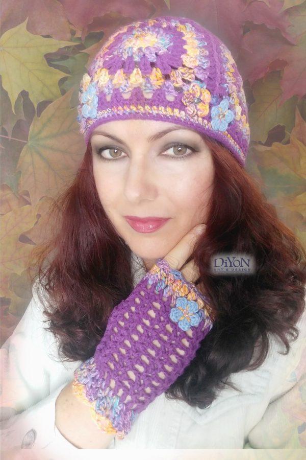 Комплект плетени шапка и ръкавици в лилаво