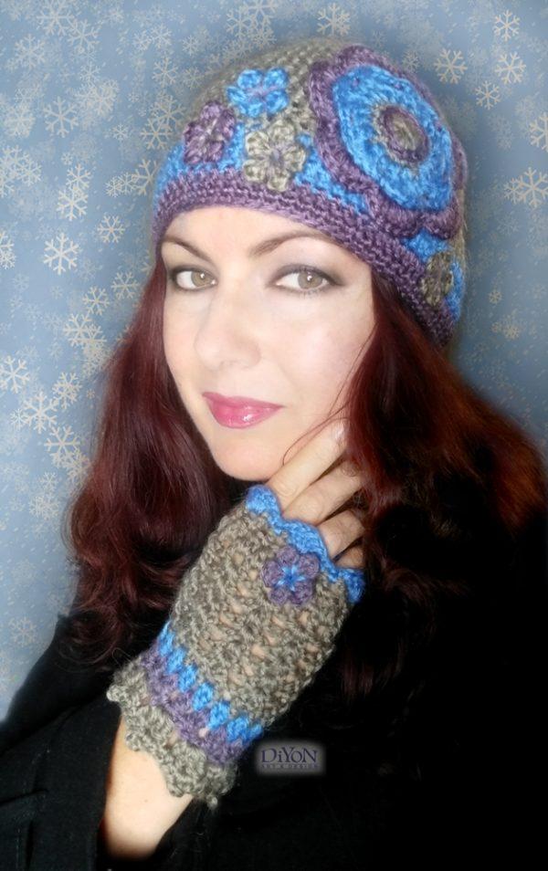 Плетен дамски комплект шапка и ръкавици