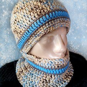 Плетена шапка и шал за мъже в бежаво