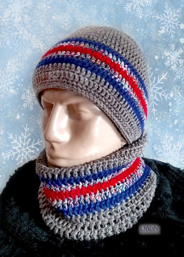 Плетена шапка за мъже с червено