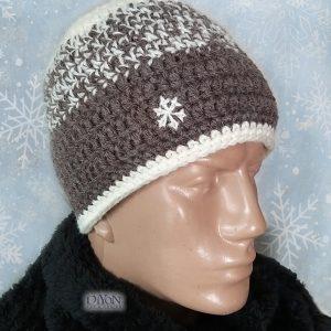 Плетена шапка за мъже със снежинка