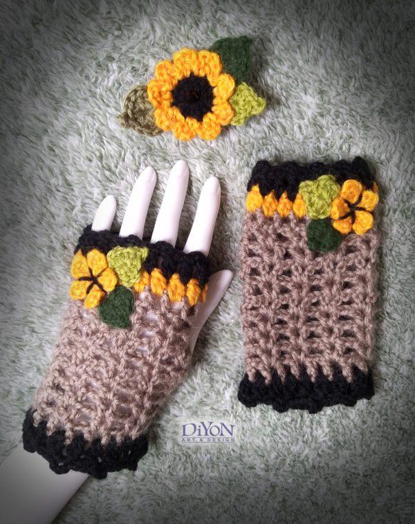 Плетени ръкавици със слънчогледи