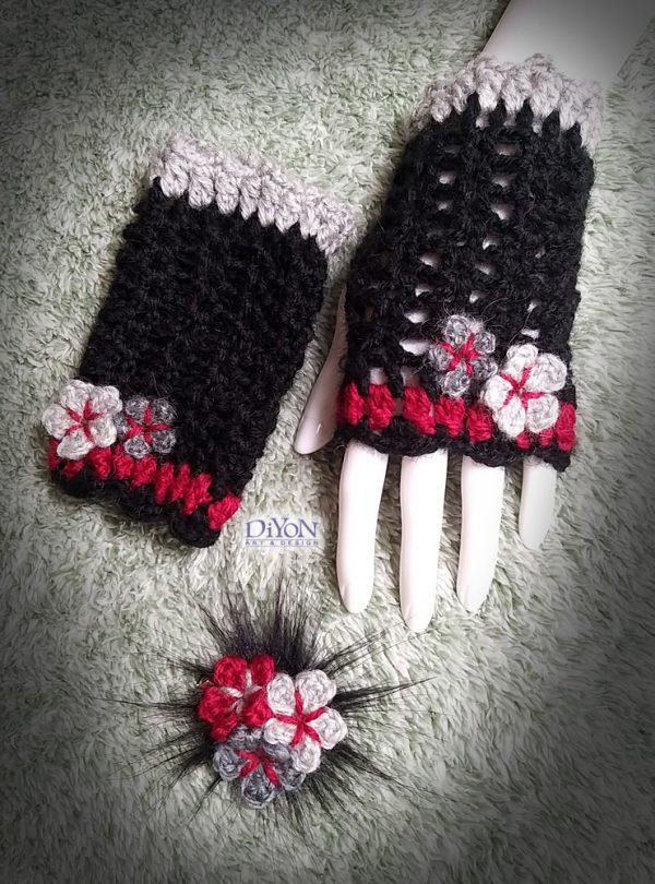Плетени ръкавици черен ажур