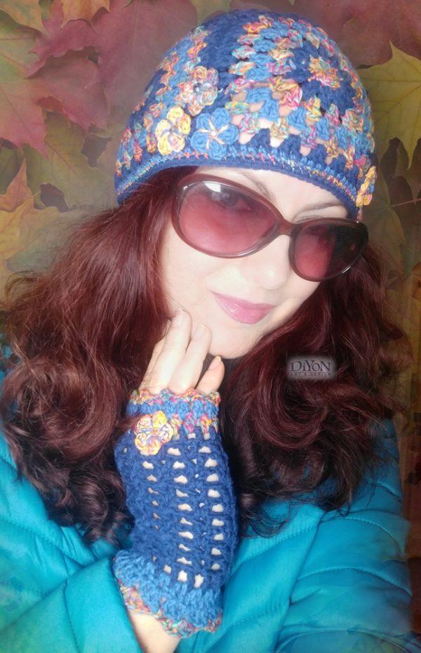 Плетени ръкавици и шапка в синьо