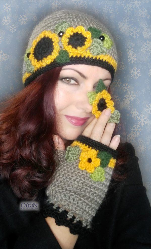 Плетени шапка и ръкавици със слънчогледи