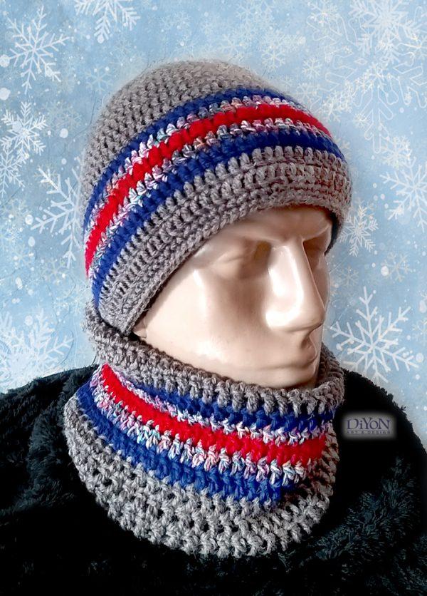 Плетени шапка и шал за мъже с червено