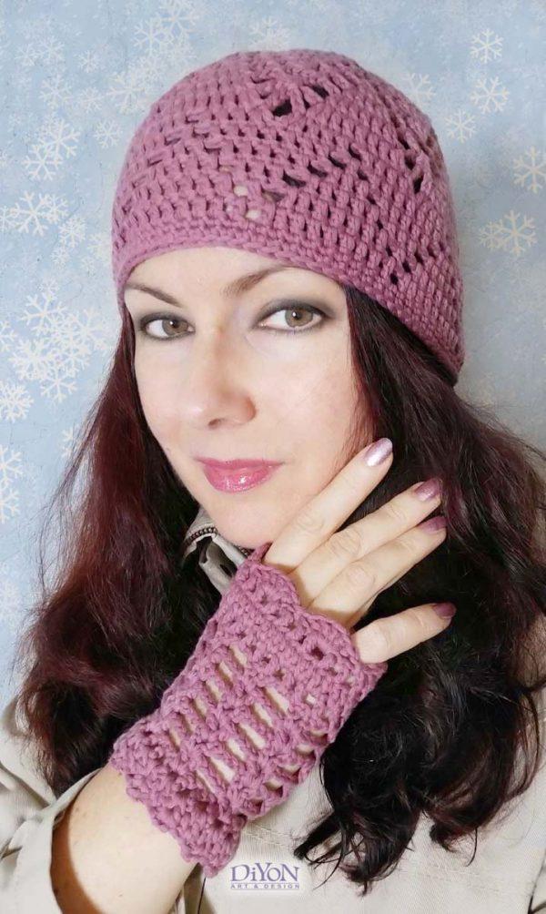 Шапка и ръкавици от плетена дантела