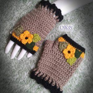 Топли ръкавици със слънчогледи