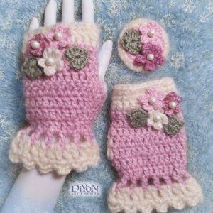 Плетени ръкавици с мохер в розово2