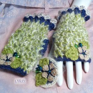 Луксозни плетени ръкавици с мохер и брошка