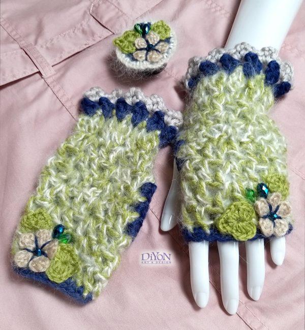 Луксозни зелени ръкавици с мохер