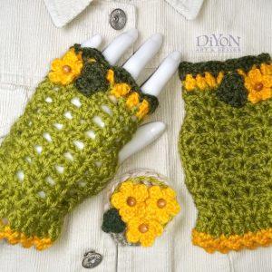 Плетени ръкавици светлозелени