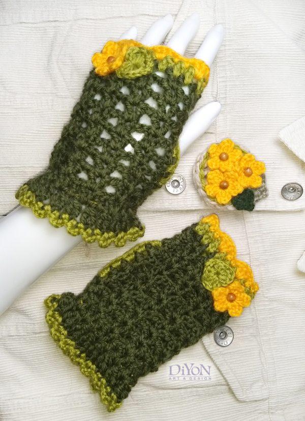 Плетени ръкавици тъмнозелени