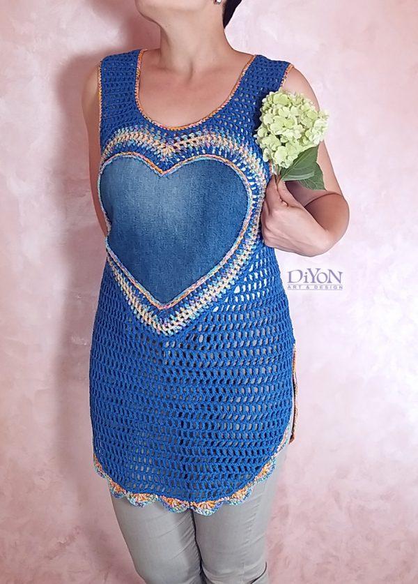 Ажурна плетена туника със сърце