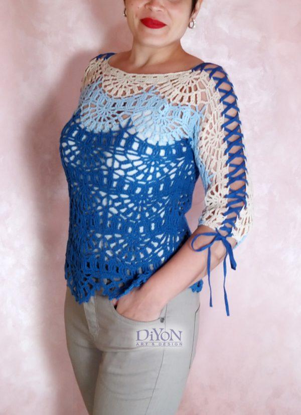 Летен дантелен пуловер син с ръкав