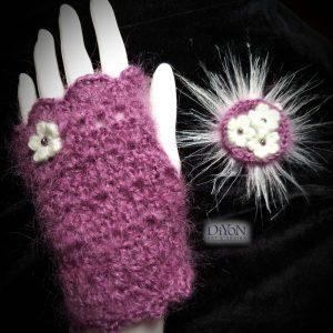 Луксозни ръкавици от мохер в лилаво