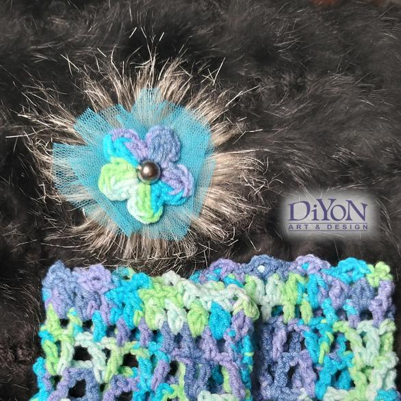 Плетена брошка Морски бриз
