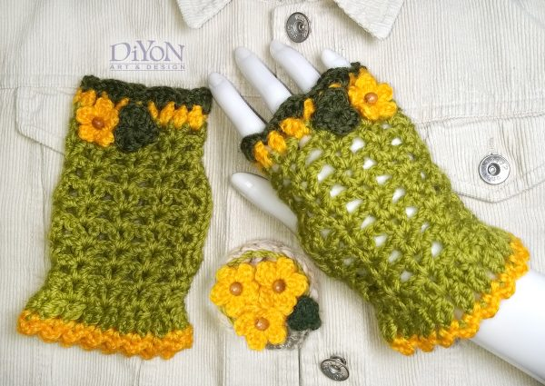 Плетени ръкавици без пръсти и шнола в зелено