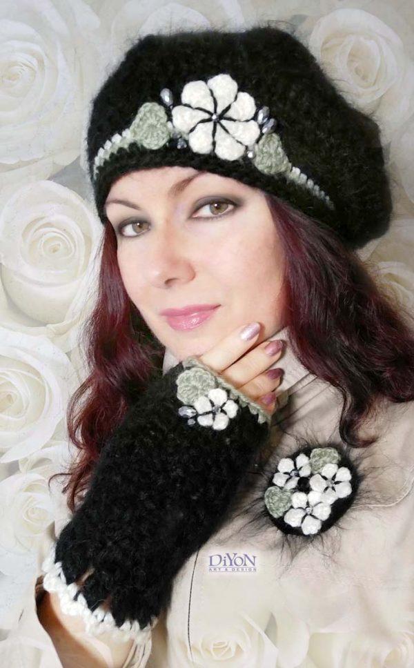 Плетени шапка тип барета и ръкавици с мохер
