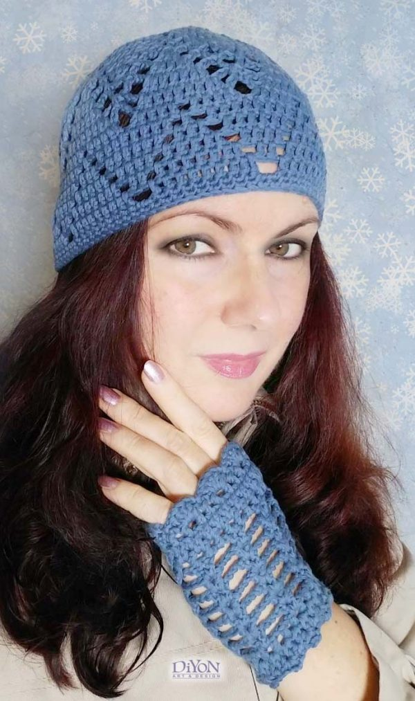 Дамски комплект плетена дантела син