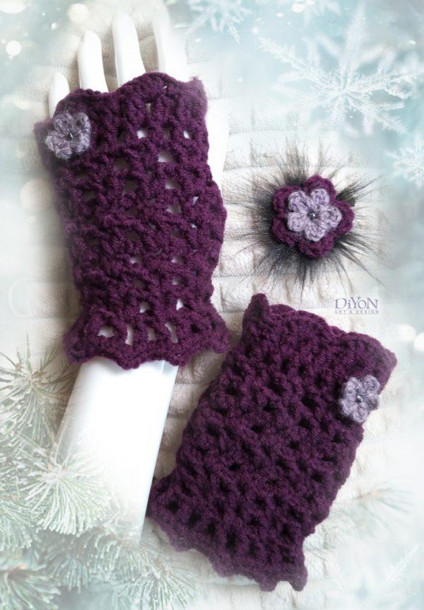 Плетени ръкавици без пръсти в лилаво